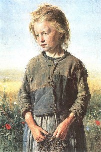 young girl gray dress Ilya_Repin_-_Fisher_girl